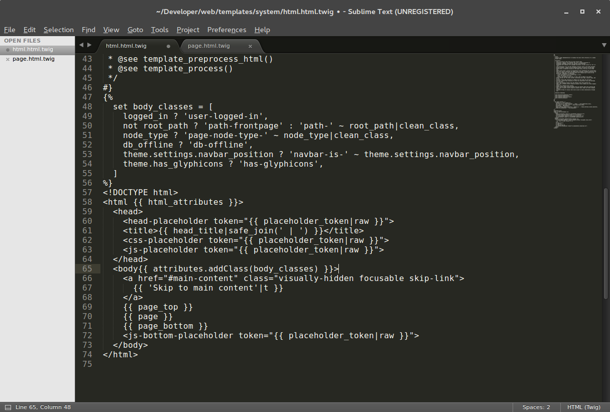 Captura Sublime text sin Sintaxis twig